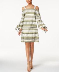 Nine West Cotton Printed Cold-Shoulder Dress  | macys.com