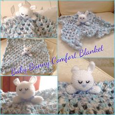 Baby bunny comfort blanket. Hand Made By Craftypaulaa.