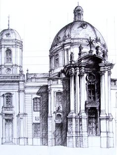 Perspective of an older structure, drawing focus to the detail below the dome by focusing shadow detail there while leaving the rest largely blank Art Et Architecture, Architecture Details, Classic Architecture, Fachada Colonial, Building Sketch, Sketch Painting, Urban Sketching, Detail Art, Traditional Art