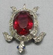 Vintage 1940's Crown Trifari Turtle Rhinestone Brooch Pin Sterling Silver Red