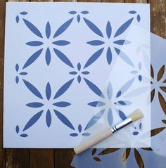 Are you interested in our floor stencil? With our Moroccan floor stencil you need look no further. Stencil Patterns, Stencil Designs, Painting Patterns, Tile Patterns, Floor Stencil, Stenciled Floor, Painted Floorboards, Painted Floors, Flooring Tiles