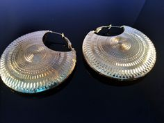 Large Gold hoop earrings- Aztec tribal earrings-Bohemian Gold Moon Earrings-Turkmen Afghan Jewelry-Ornate Jewelry by taneesijewelry on Etsy
