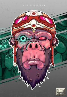 """Monkey Motor es un grupo de monos con habilidades especiales creados en la segunda guerra mundial, les presento al líder """"Poll"""" .Adobe Illustrator + Adobe Photoshop"""
