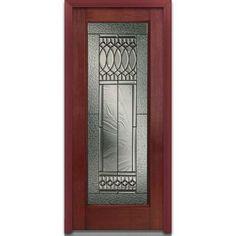 Milliken Millwork 32 in. x 80 in. Paris Decorative Glass Full Lite Finished Mahogany Fiberglass Prehung Front Door-EFM686PSP28LHWCH - The Home Depot