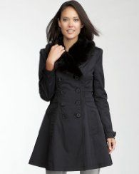 10. A jacket or coat for foggy weather Faux Fur Collar Corset Trench Coat #bebe #pinyourwaytotheuk