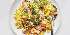 Golden Fried Rice With Salmon and Furikake recipe | Epicurious.com Ginger Salmon, Asian Recipes, Ethnic Recipes, Weekly Recipes, Weekly Menu, Cooking Together, How To Cook Eggs, Dinner Sides, Recipe For 4