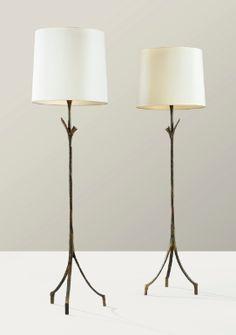 Alberto Giacometti, a pair of patinated   bronze floor lamps, designed circa 1936