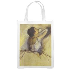 Degas Dancer in Yellow Fine Art Grocery Bag by Avenue Central