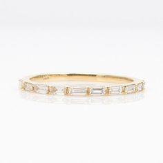 Baguette Diamond Half Eternity 14K Gold Wedding Band $299