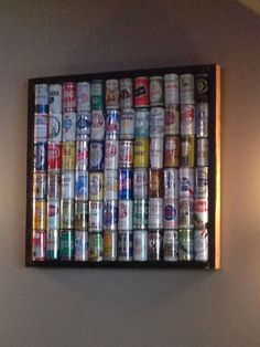 Idea to display beer can collection. Beer Can Art, Beer Art, Beer Crafts, Craft Beer, Beer Can Collection, Old Beer Cans, Man Cave Bar, Liquor Bottles, Alcohol Bottles