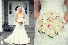 white bridal bouquet, soft pink roses