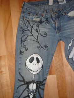 These are amazing! Hand Painted Custom Halloween Jack Jeans by scatterbirdie on Etsy, $200.00