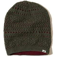 Hollister Reversible Beanie (20 CAD) ❤ liked on Polyvore featuring accessories, hats, olive and burgundy, logo beanie hats, knit hat, olive green beanie, knit beanie and logo hats