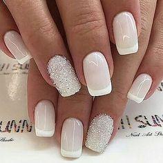 Installation of acrylic or gel nails - My Nails Wedding Nails For Bride, Bride Nails, Wedding Nails Design, Winter Nails, Summer Nails, Nagel Gel, Love Nails, Trendy Nails, Nails Inspiration