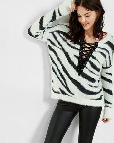 zebra lace-up hi-lo sweater