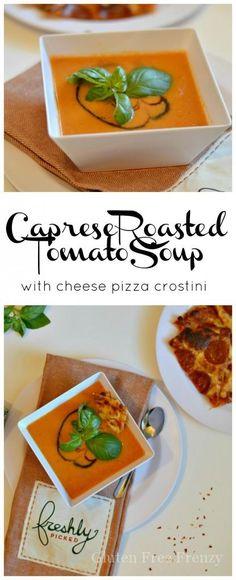 Yum! This Caprese Roasted Tomato Soup with Freschetta gluten-free cheese pizza…