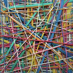 "Saatchi Online Artist: John Cameron; Acrylic, 2011, Painting ""Scheduled Spontaneity"" Photo realistic painting of rubber bands"