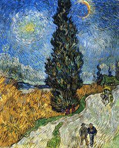 Cypress contre un ciel étoilé (également connu sous le nom Route avec des cyprès), huile sur toile de Vincent Van Gogh (1853-1890, Netherlands)