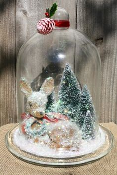 Vintage Reindeer Glass Christmas Cloche by ConnieRose Ribbon On Christmas Tree, Cool Christmas Trees, Christmas Tree Themes, Noel Christmas, Vintage Christmas, Christmas Wreaths, Christmas Gifts, Xmas, Amazon Christmas