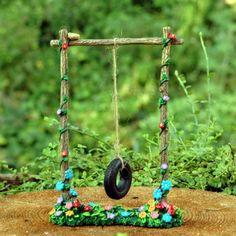 Items similar to Miniature Merriment Tire Swing - Mary Engelbreit - Merriment Fairy Garden - Whimsical - on Etsy, Fairy Garden Furniture, Fairy Garden Supplies, Mini Fairy Garden, Fairy Garden Houses, Fairy Houses Kids, Tree Houses, Fairy Village, Fairy Tree, Fairy Figurines