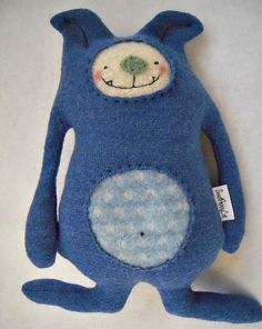 Dog Stuffed Animal Blue Wool Sweater Upcycled by sweetpoppycat