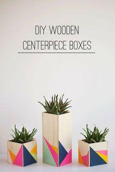 DIY wooden plant boxes