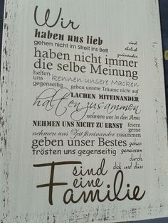 "White wooden sign with the inscription ""We …. are a family"" It is a … – Sprüche – White wooden sign with the inscription ""We …. are a family"" It is a … – Sprüche – Wooden Signs With Sayings, Family Rules, We Are Family, Shabby Vintage, Sign Quotes, Wooden Diy, Cool Words, Hand Lettering, Quotations"