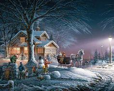 (usa) Snowball fight by Thomas Kinkade born in California.