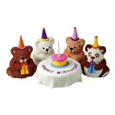 """Bear's Birthday Mini Cakes - Going Goldilocks one better, this party has 4 Mini Stand-Up Bear cakes as guests. The dining table is a 6 in. round cake with a rolled fondant """"tablecloth"""" draped over the top. Increase the size of the round table and you can seat more bears!"""