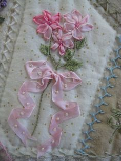 I crazy quilting . . . - Pink ribbon embroidery. Klasko