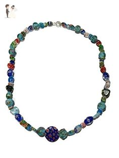 Multiflora and Lampwork Glass Necklace - Wedding nacklaces (*Amazon Partner-Link)