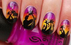 Diseños de uñas para la playa, diseños de uñas para playa. Clic Follow,  #manicuras #3dnailart #uñasdiscretas