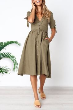 94bf1974b9 Venidress V Neck Bow Sleeves Button Down Midi Dress. Brittney Russell ·  Outfit ideas · Venidress Daily Round Neck Flared Sleeves Mid Calf Dress –  VENI ...