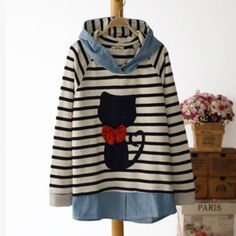 Japanese cat sweet bowknot stripe hooded fleece pullover