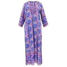 Vintage 70s Paisley Cotton Caftan w/Mirrored Embroidery – THE WAY WE WORE