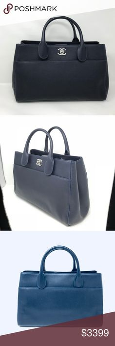 """Chanel Large Shopping Grained Calfskin Women's Bag """"This is brand new Chanel Large Shopping Grained Calfskin  Tote Ladies Bag. Comes with authenticity card. Detachable Shoulder Strap Dust Bag Height-9.5 inch Length-13.5 inch Depth-5.5 inch Grained calfskin Made in Italy""""  All tags are attached never used.  Dark Navy Blue Silver Tone Hardware   Item Id- 019285 CHANEL Bags"""