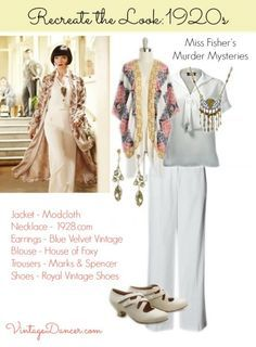 1920s fashion by Miss Fisher Murder Mysteries star. Recreate this look with loose layers and dazzling jewelry at VintageDancer.com/1920s