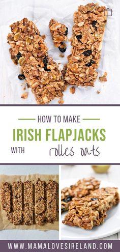 Easy to follow delicious oat bar recipe to make Irish flapjacks at home Oat Bars, Oatmeal Bars, Irish Recipes, Vegan Recipes, Baking Tins, Breakfast On The Go, International Recipes, Tray Bakes, Food To Make