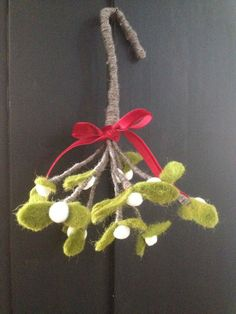 Wonderful felt mistletoe sprig tied with red by SMITHSEMPORIUM