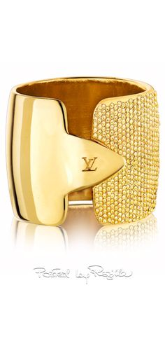 Louis Vuitton ring, gold finished brass metal micro-paved with Swarovski elements | House of Beccaria