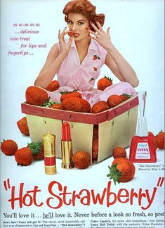 HOT STRAWBERRY! Chronically Vintage: Adventures in vintage advertising: Cutex Nail Polish #cutex #pink #vintage
