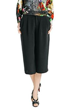 VOA Womens Silk Black Short Wide Leg 34 Pant Bottom * Read more reviews of the product by visiting the link on the image.