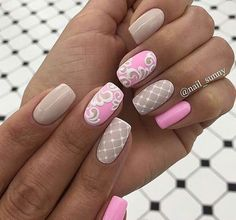 cute pink and nude nail design