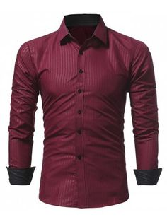 326ae4bc8962 Dark Stripes Embossed Men's Casual Long-sleeved Shirt Slim Cool Shirts For  Men, Smart