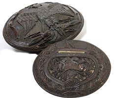 C.1810 Napoleonic Prisoner of War Carved Corozo, Coquille Nut Snuff Box, Napoleon Eagle, Hat