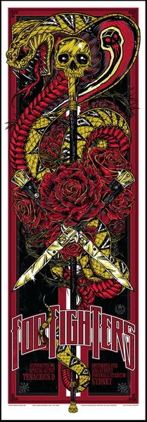 Foo Fighters Sydney concert poster by Rhys Cooper ~ classic heavy metal psychedelic  rock music poster  ☮~ღ~*~*✿⊱  レ o √ 乇 !! ~