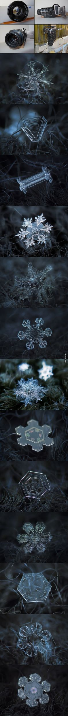 Russian photographer Alexey Kljatov uses cheap home-made camera rig to take stunning close-ups of snowflakes