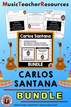 Explore the life and music of CARLOS SANTANA through researching his musical background and life as well as listening to and analysing his music. A variety of graphic organizers are provided to cater for differentiation within the classroom. Printable PDF's and TpT Easel pages are provided. ♫ ♫ #mtr #musicteacher #musiced #musiceducation Music Teacher Resources