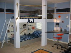 AJs Getaway, Our son loves his new bedroom.  The loft up top has a bed and a bean bag with plenty of room to goof around., Boys Rooms Design