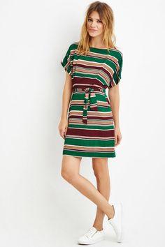 Contemporary Belted Stripe Sheath Dress